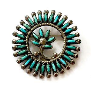 ZUNI Needlepoint Turquoise Vintage Brooch 925